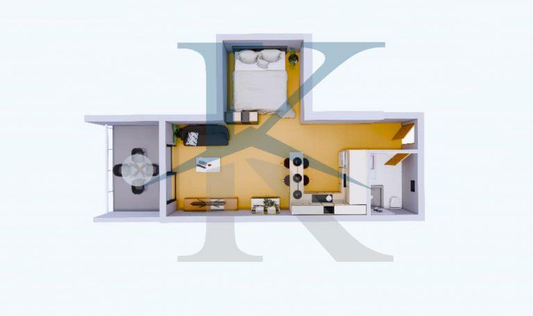 استودیو از 42 متر تا 52 متر با 8 تا 15 متر تراس