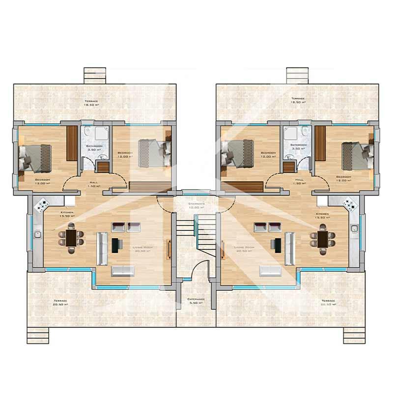 نقشه واحدهای آپارتمان دو خواب ۸۱ متری