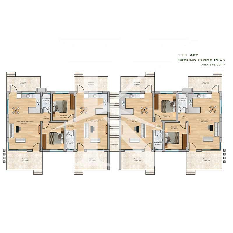 نقشه واحدهای آپارتمان یک خواب ۶۰ متری